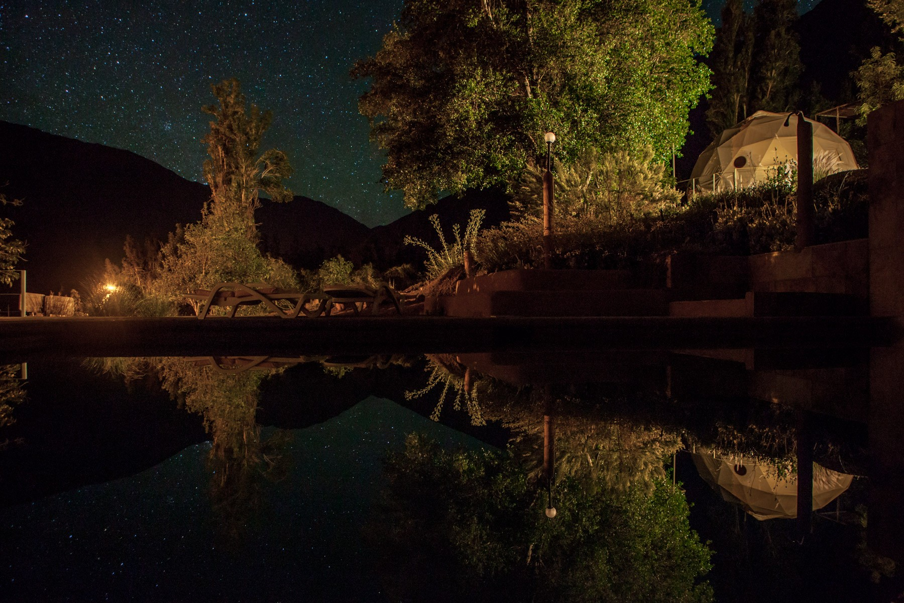 Elqui Domos Hotel Stars reflecting in pool