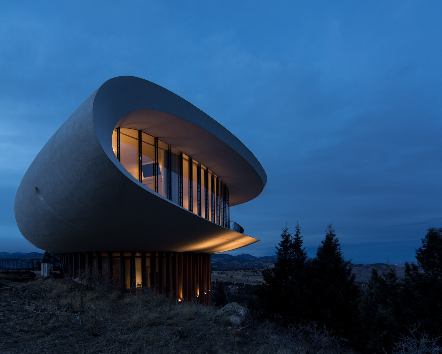 Sculptured House at Night